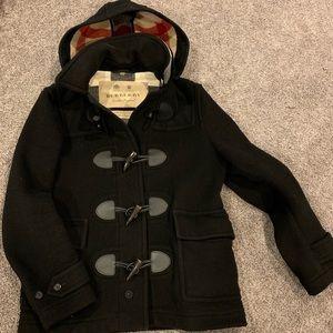 Burberry Detail Wool Blend Hooded Coat